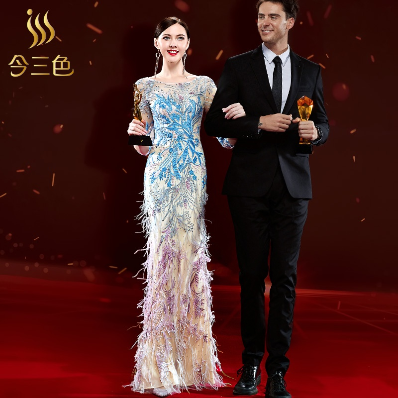 High-end atmospheric elegant evening dress women 2020 new winter banquet annual meeting host noble temperament famous style
