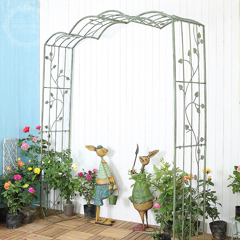 Ancient iron gardening outdoor flower season arch lulu garden courtyard villa iron lotus plant climbing frame