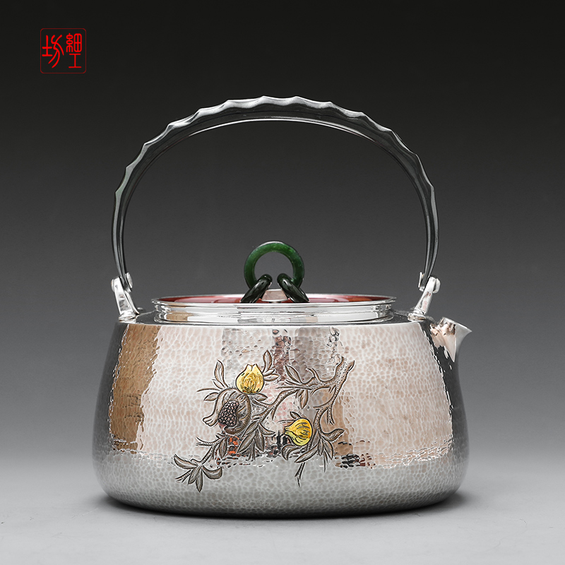 Japanese fine workshop silver pot 9999 pure silver a kettle pure handmade household silver pot tea set boiling kettle