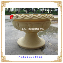Special sandstone embossed European flowerpot Sand Rock outdoor mural column Pier imitation copper FRP sculpture carving Flower Bowl