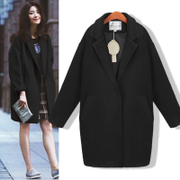 Autumn and winter clothing woolen coat was thin and long sections of Korean students quilted Houjian type wool coat,