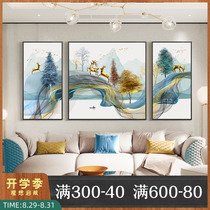 Living room decorative painting sofa background wall painting atmosphere light luxury modern triple painting new Chinese style luxury Fengshui hanging painting