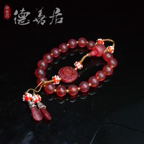 Antique Qing Forbidden City Qing Dynasty red Glass 18 sub-string bracelet hand Kushiro rosary cheongsam pressure
