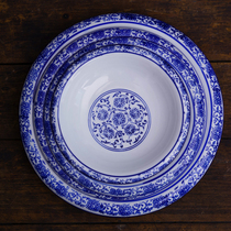 Jingdezhen Qinghua porcelain dishes plate in reverse mouth Isde plate deep soup plate hotel home creative glaze under the colorful tableware.