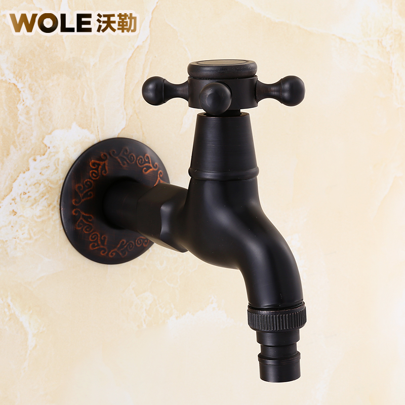 Copper washer faucet American Retro Black single cold faucet lengthened into wall balcony mop pool faucet