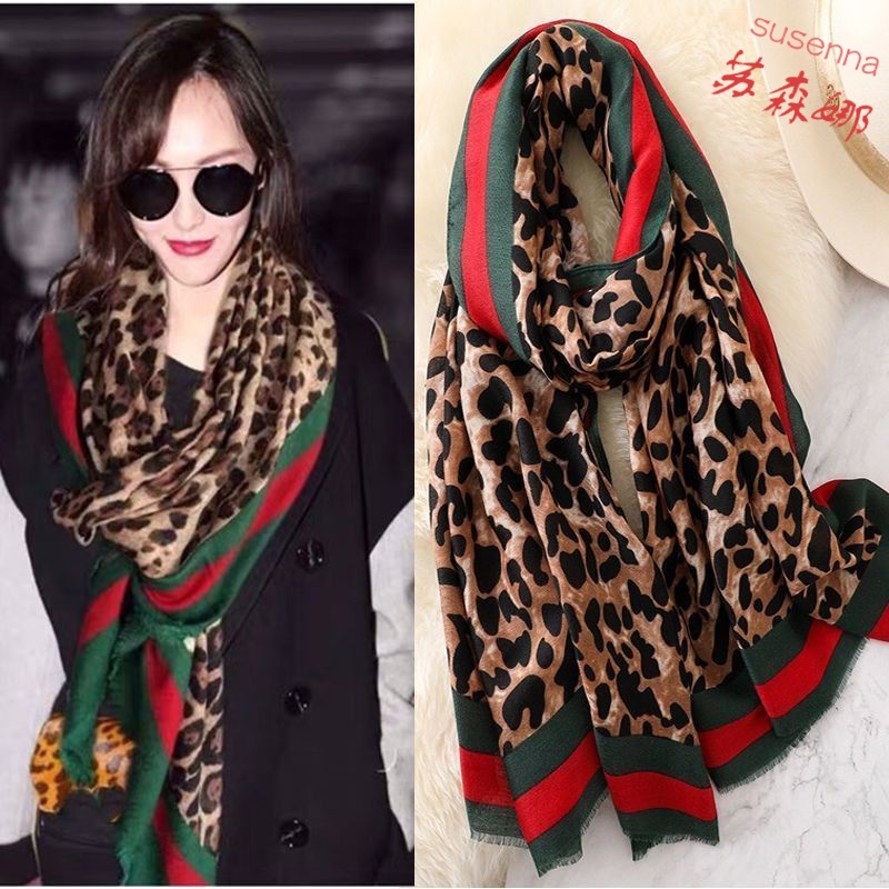 The star of the same leopard-print scarf female autumn winter student Korean version of a hundred chiffon silk scarf fashion plaid stitched shawl