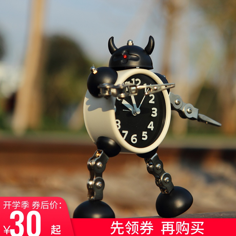 Creative Alarm Clock for Transformed Robot Student Small Alarm Clock Lovely Children Cartoon Alarm Clock Set Clock Metal Alarm Watch