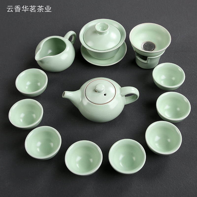 Yu kiln kung fu tea set set set of household tea ceremony cover teapot teapot tea set accessories special opening can be raised