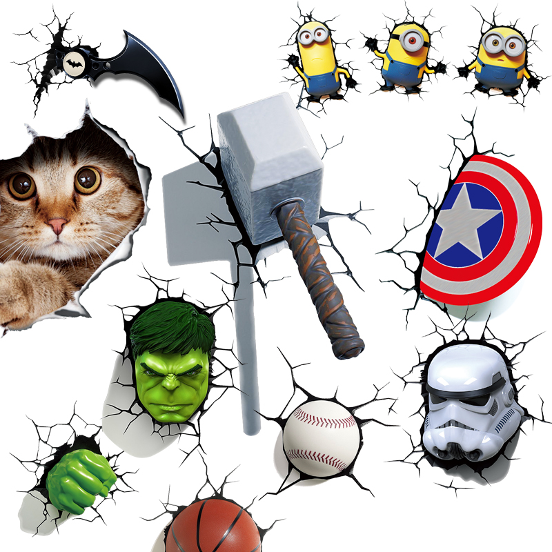 Creative 3D Stereo Car Sticker Motorcycle Color Sticker Personal Body Simulation Cartoon Avenger Alliance Decoration Sticker