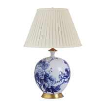 Jingdezhen hand-painted ink peony ceramic table lamp living room Lighting study new Chinese collection of all copper ceramic table lamp