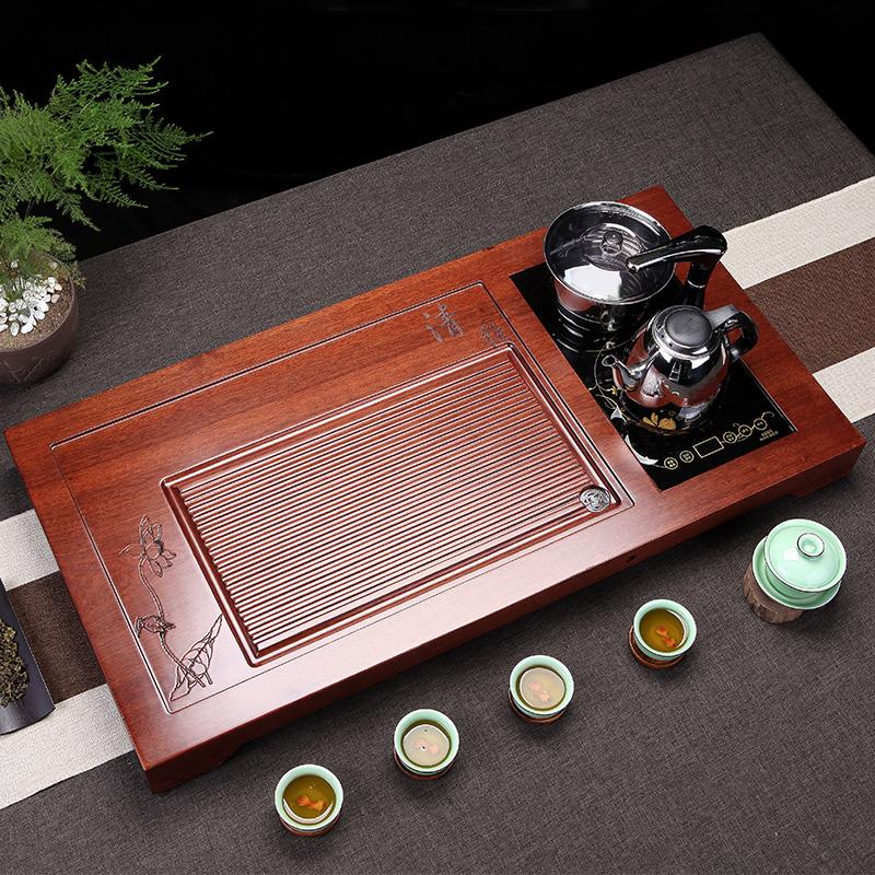 Flower pear wood tea plate tea table Kung Fu tea set drain tea sea whole block solid wood household induction cooker set elegant