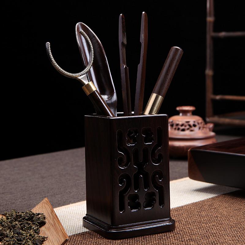 Ebony tea ceremony kung fu tea set accessories solid wood pear wood quartet hollow five-piece set with cup cushions