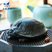 Wujin stone dragon turtle tea favorite pieces fine can raise money Zen tea ceremony blue stone pure hand-made pieces of paper to play with the paper.