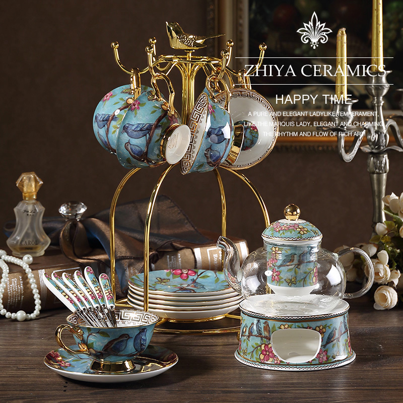 English afternoon tea set set European-style light extravagant porcelain flower teacout fruit jug with filter candle heating