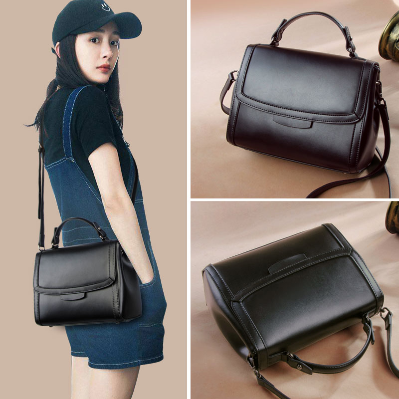 Baggage Girls 2019 New Style Simple Square Baggage Slant Baggage, Individual Handbag, Shoulder Baggage and Genuine Leather Baggage