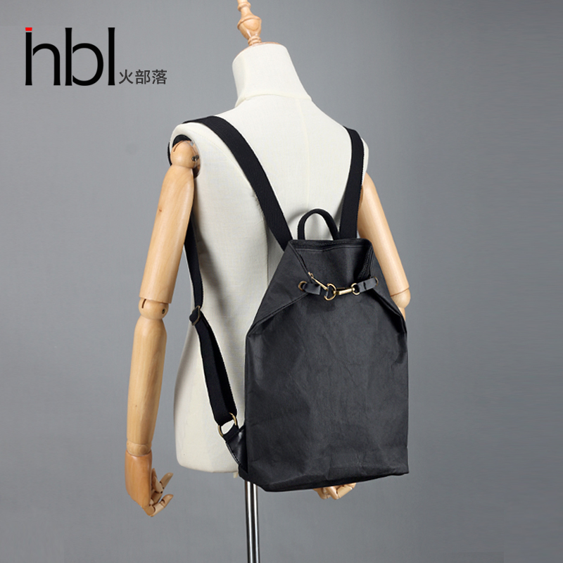 HBL original casual female shoulder bag literary girl backpack shoulder bag washed kraft paper personality retro