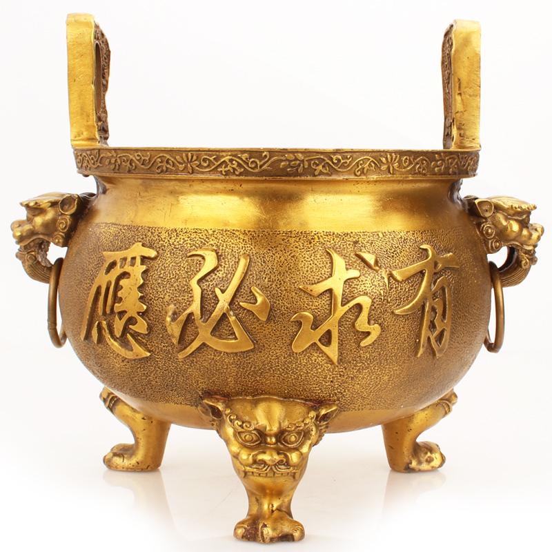 Bronze incense stove furnishings of Juyuan Pavilion Household indoor double ear size sandalwood incense line incense worship God of Wealth Buddha statue tripod