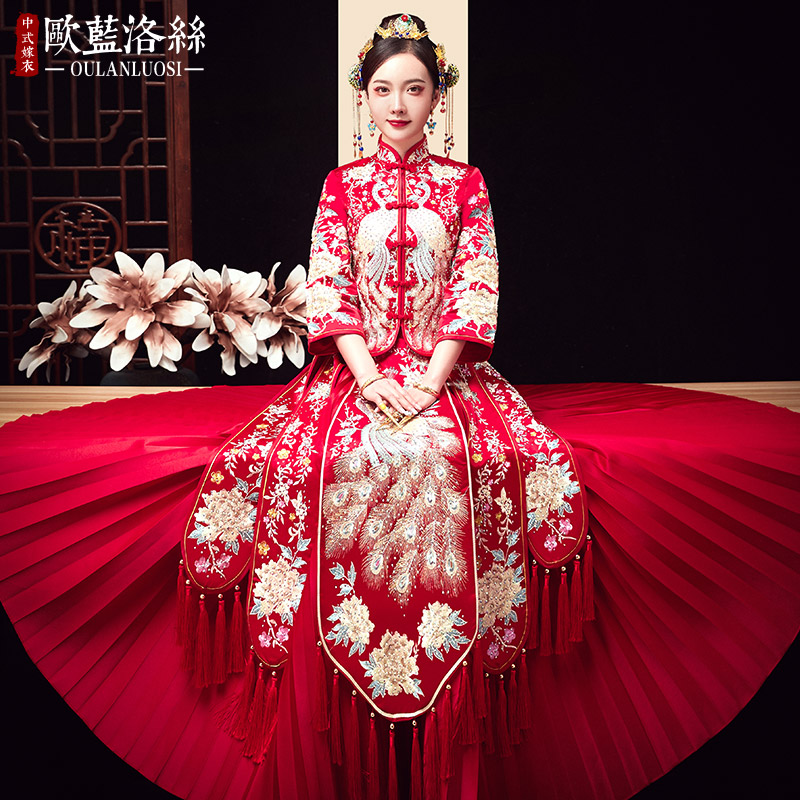 Showwear 2020 new bride toast winter wedding show thin show female Chinese dress wedding dress embroidered suit
