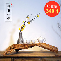 Modern Chinese Zen decoration living room porch Bogujia Kungfu tea table decoration display platform Cliff cypress root art