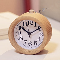 Creative Home solid wood small alarm clock non-luminous mute bedroom bedside clock sleepy lazy students with night Lights