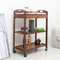 Bamboo Mobile Dining Car trolley hot pot Rack Kitchen Boutique beauty salon Hotel Tea solid Three floor
