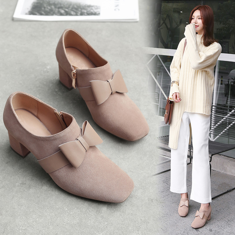 2018 spring new Korean version of the leather bow high heels in the thick with deep mouth shoes sweet fashion women's shoes