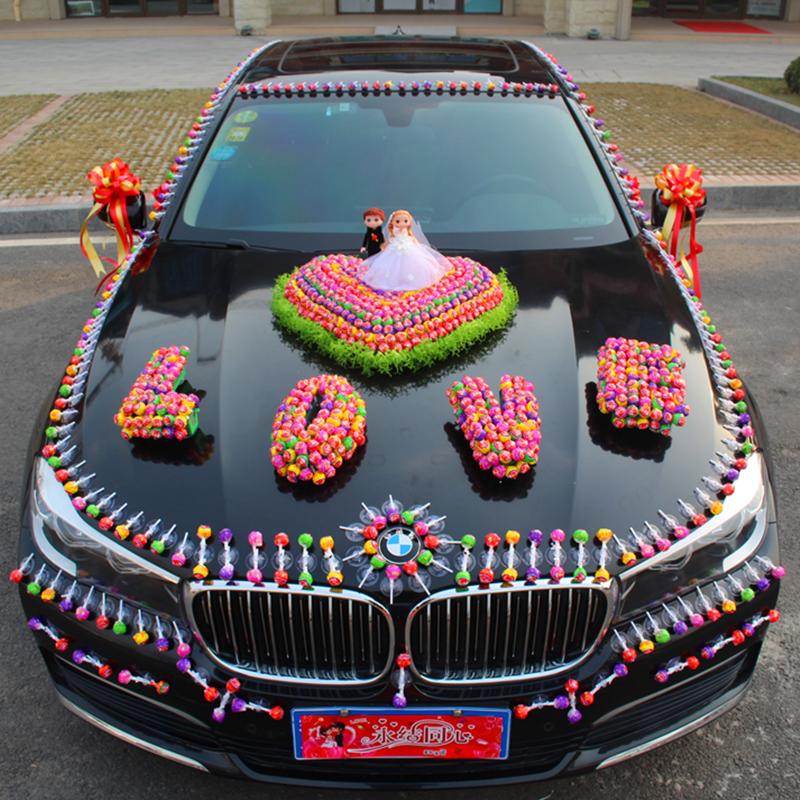 Lollipop knot wedding car decoration lollipop knot wedding car suction cup-type creative car head car decoration set wedding supplies