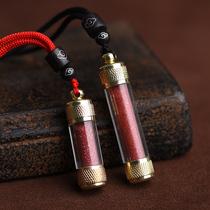 Natural cinnabar pendant portable blessing bag pendant raw stone powder collar male and female children Baby evil baby collar bottle