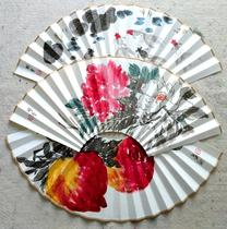 Chinese art works Hand-painted rice paper folding fan face Chinese painting Original Chinese style men and women play fan collection craft gifts