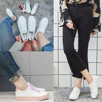 2018 students Korean version of the leather white shoes