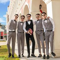 Best Man Group clothing Brotherhood summer Western mens shirt brothers dress vest three-piece suit suit autumn