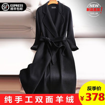High-end double-sided cashmere coat womens long section over the knee 2019 New Black slim woolen coat season