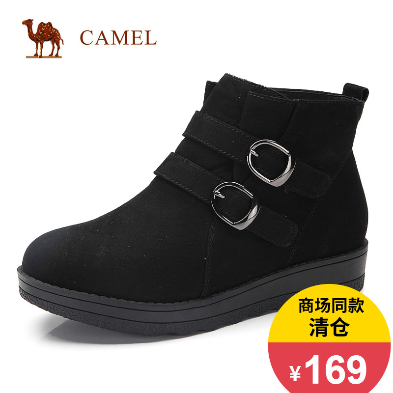 [The goods stop production and no stock]Camel camel women's shoes Autumn fashion comfortable high-top shoes Round head casual matte shoes Women