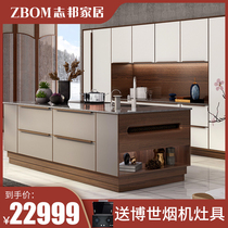 Official Zhibang kitchen cabinet kitchen decoration cabinet custom-made Chinese open quartz stone countertop modern luxury