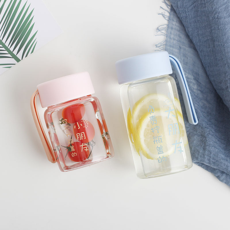 Mini glass girl small go out carrying portable water cup small cute simple fresh Sen small cup