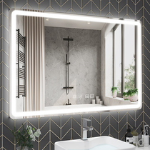 Smart bathroom mirror led with lamp hanging wall-mounted dressing room anti-fog mirror Bluetooth touch screen toilet glow mirror