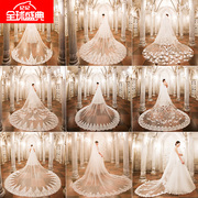 The new European lady clothing yarn lace large tail Veil Bride Wedding Veil long paragraph shipping
