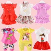 A 2 year old female baby summer infant child short suit two sets of girls aged 1-3-5 summer suit