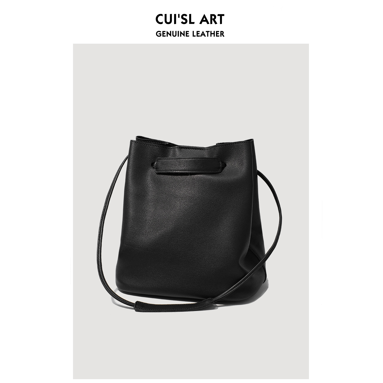 Cuis leather texture head layer cowhy pumping rope bucket bag one-shoulder oblique stiletto large-capacity stylish hand-held leather womens bag