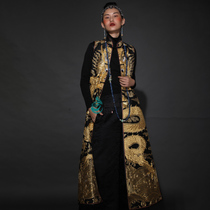 Cloud decoration totem original design womens long-style horse clip national style hand-embroidered plate gold embroidered plate dragon silk long vest