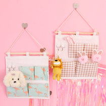 Korean cute cartoon girl storage hanging bag dormitory wall pendant items storage bag Sorting and finishing storage bag