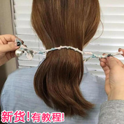 South Korea hair hair rope pearl floral bow hair styling tool for a head artifact