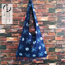 Tie-dyed shoulder bag Characteristic ethnic style environmental protection bag Yunnan Dali Bai hand-made cotton tie-dyed bag satchel