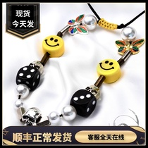 (Domestic spot)EVAE Pearl dice Smiley silver necklace asap rocky Wu Yifan with hip-hop