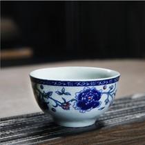 Qinghua porcelain kung fu tea set mini ceramic master cup green flower tasting cup tea cup single master cup