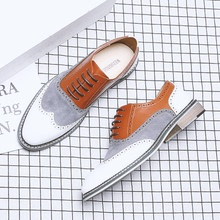 Hong Kong fashion brand block carved men's shoes buy color matching British business formal leather shoes oversize casual shoes