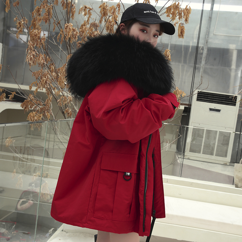 Woodpecker Pie overcomes the fur fur inside the coat of the rabbit in a stylish 2020 new womens large fur collar loose coat