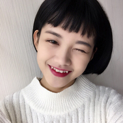 Wig female super short hair, two dimensional eyebrows, bangs lovely, student head short, straight hair, Bobo wave head, puffy round face