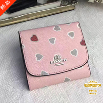 Coach purchasing Ladies leather floral love heart snap wallet