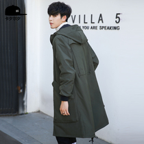 Mens trench coats 2020 new Korean version tide coat jacket mens spring and autumn over-the-knee trench coat male long section plus thick